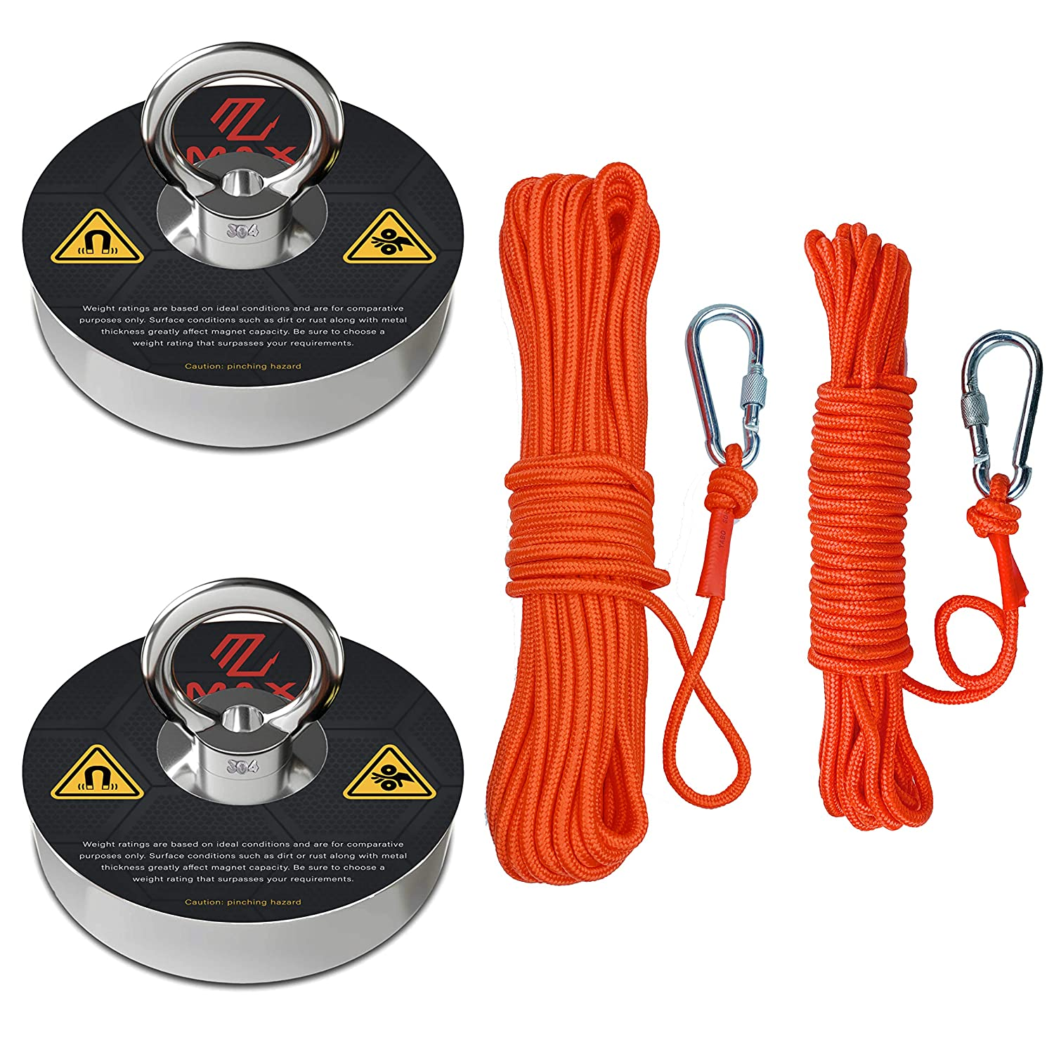 300LB Pulling Force Fishing Magnet Strong Neodymium Round Treasure Hunt+Red Rope