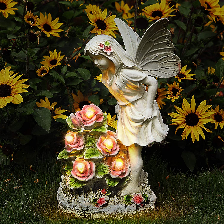 Voveexy Garden Figurines Angel Garden Statue Outdoor Decor, Solar Powered Resin Sculpture with 5 LEDs Art Decoration for Patio Lawn Yard Porch, Ornament Housewarming Garden Gift, 12.8 x 7.5 x 6.1 Inch
