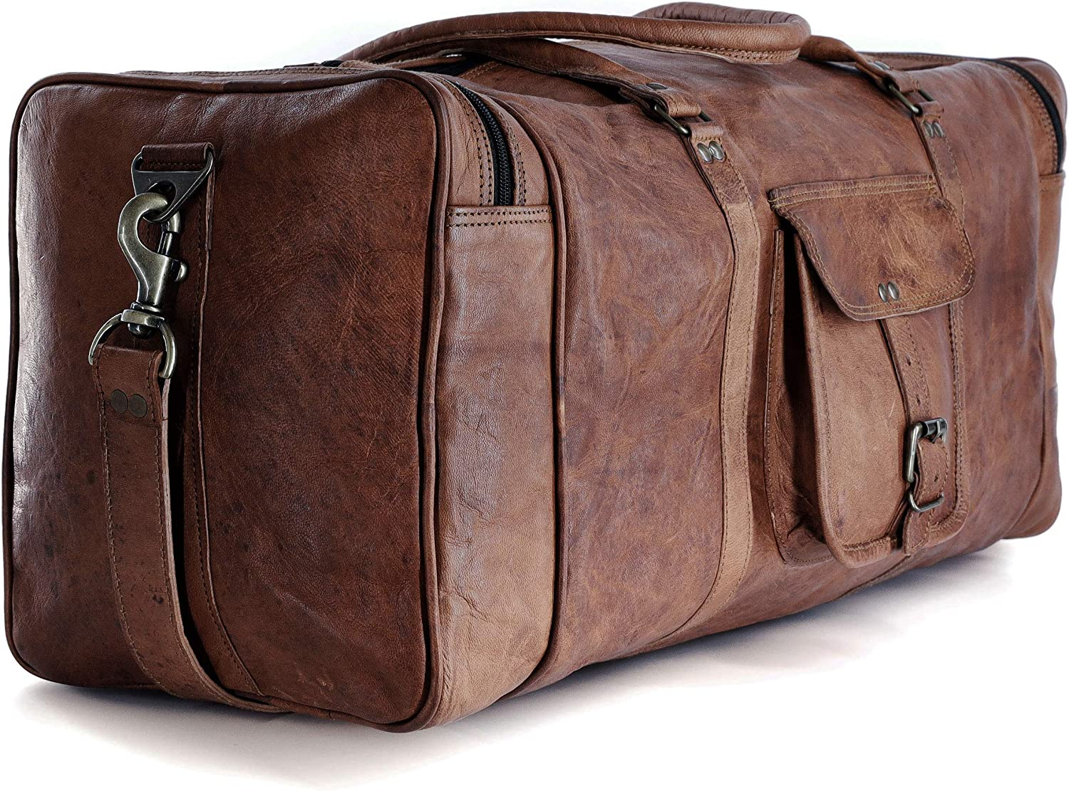 Large Leather Luggage Duffel Overnight Sports 21 Inch Airplane Cabin Bag Men