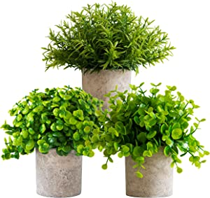 Set of 3 Small Artificial Plants in Pots Bamboo for Home Decor Fake Faux Feaux Face Decorative Plant Decoration Arrangements Mini Artificial Potted Plants Greenery Decor Shelf Desk Office