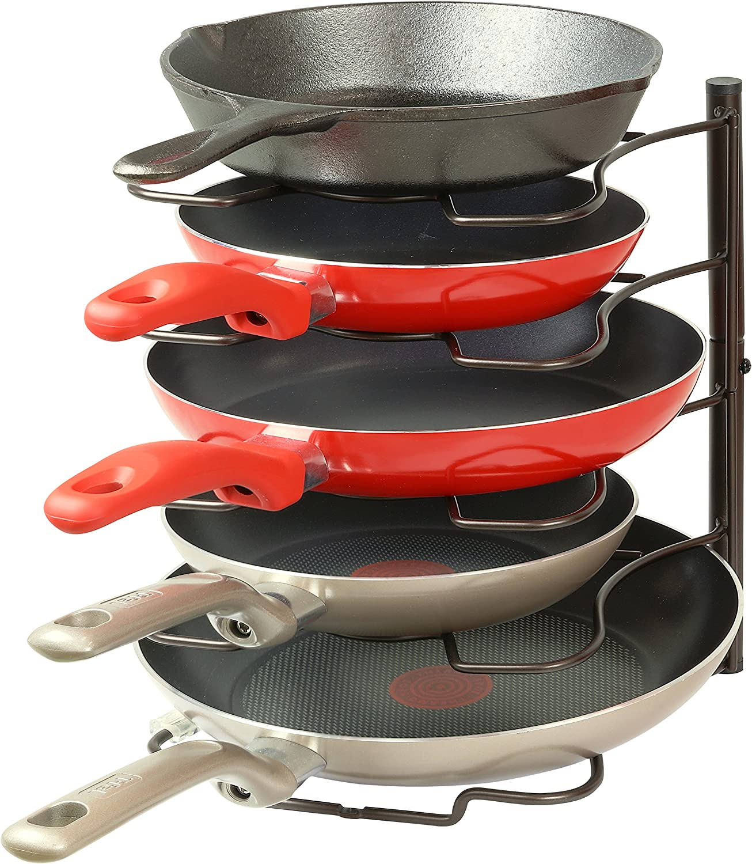 SimpleHouseware Kitchen Cabinet Pantry Pan and Pot Lid Organizer Rack Holder, Bronze: Kitchen & Dining