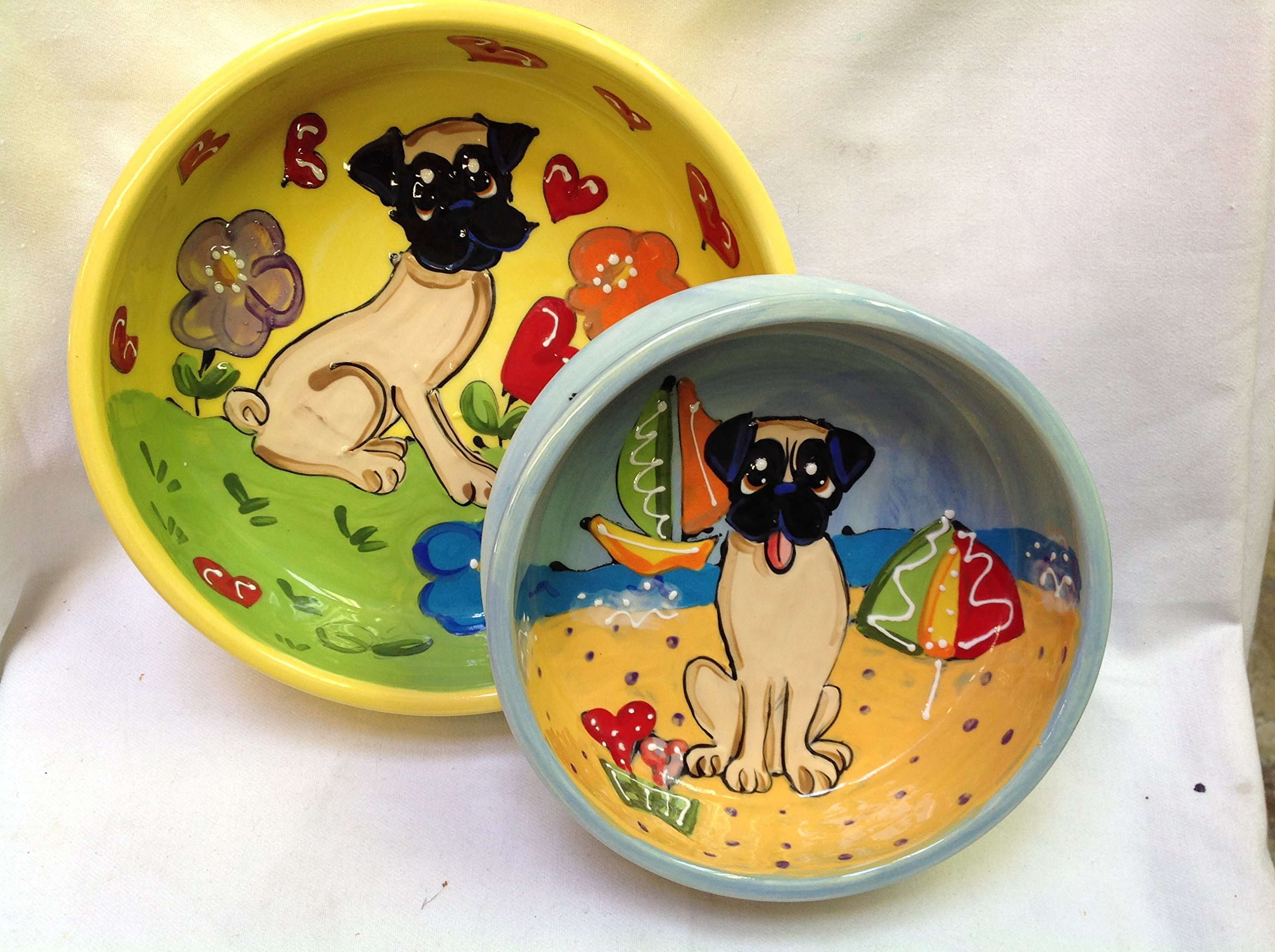 Pug 8''/6'' Pet Bowls for Food/Water. Personalized at no Charge. Signed by Artist, Debby Carman.
