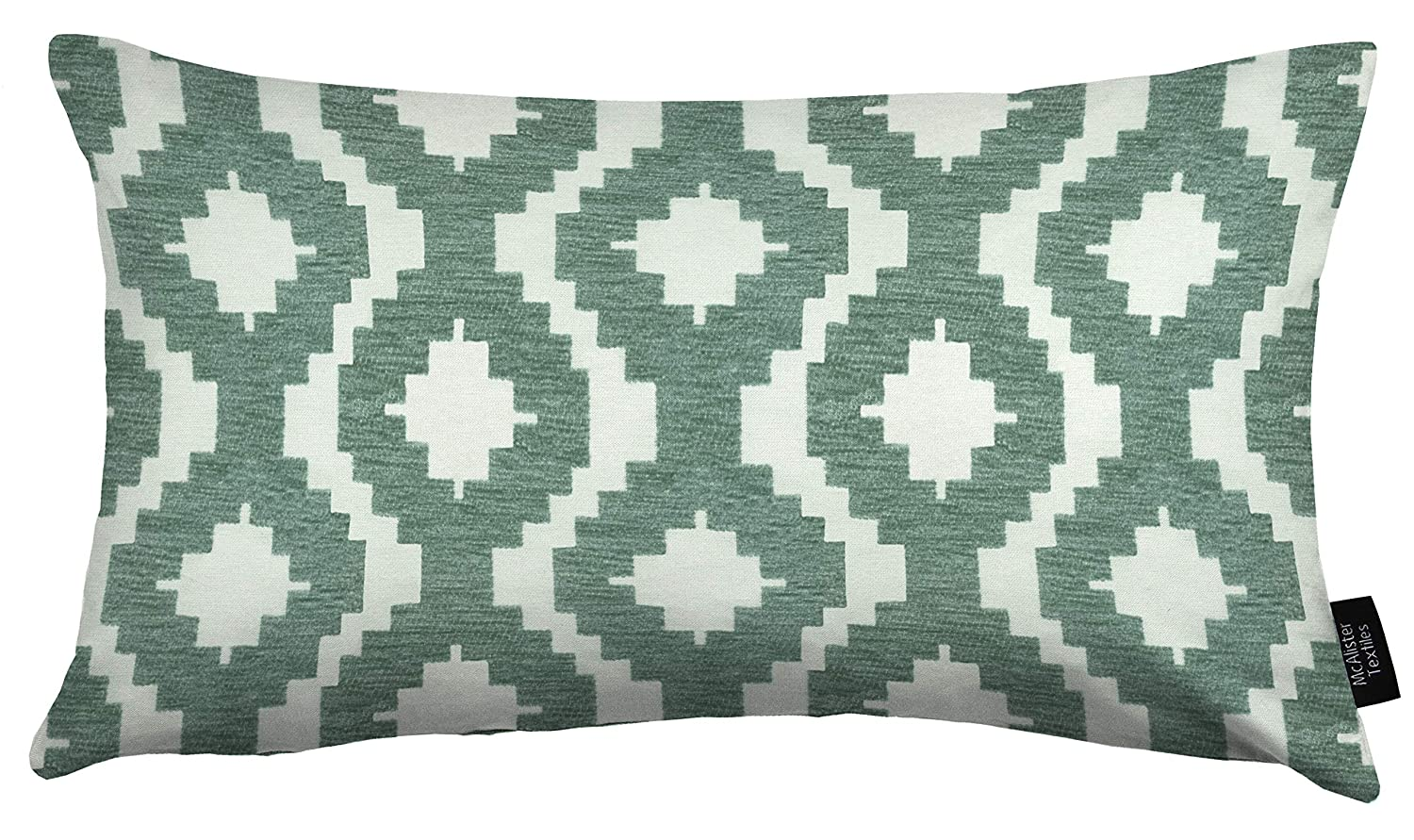 Modern Aztec Accent McAlister Textiles Arizona Square 24x24 Inches Chenille Geometric Pillow Cover Sham in Duck Egg Blue Moroccan Decor Plush Decorative Throw Cushion Sham