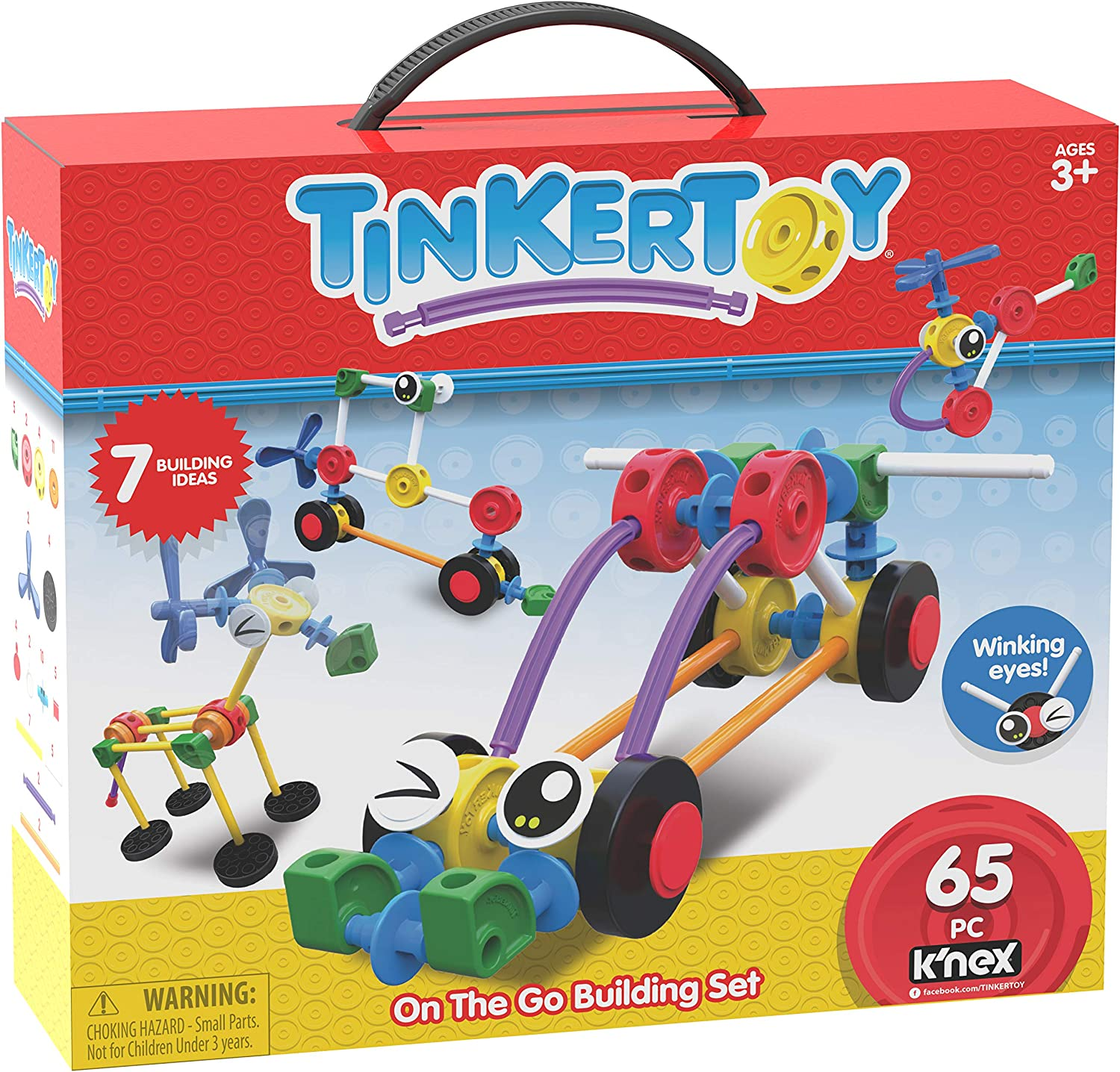 Tinkertoy On The Go Building Set - 65 Parts - Ages 3 & Up - Creative Preschool Toy