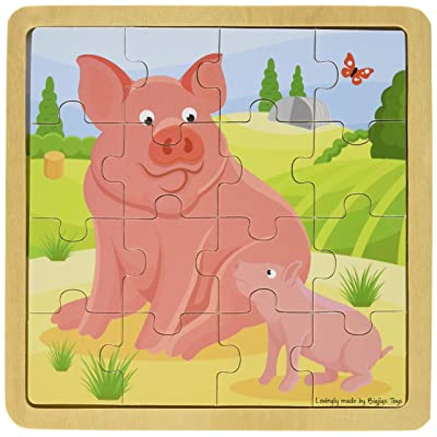 Bigjigs Toys Chunky Wooden Pig & Piglet Puzzle, Multicolored: Toys & Games