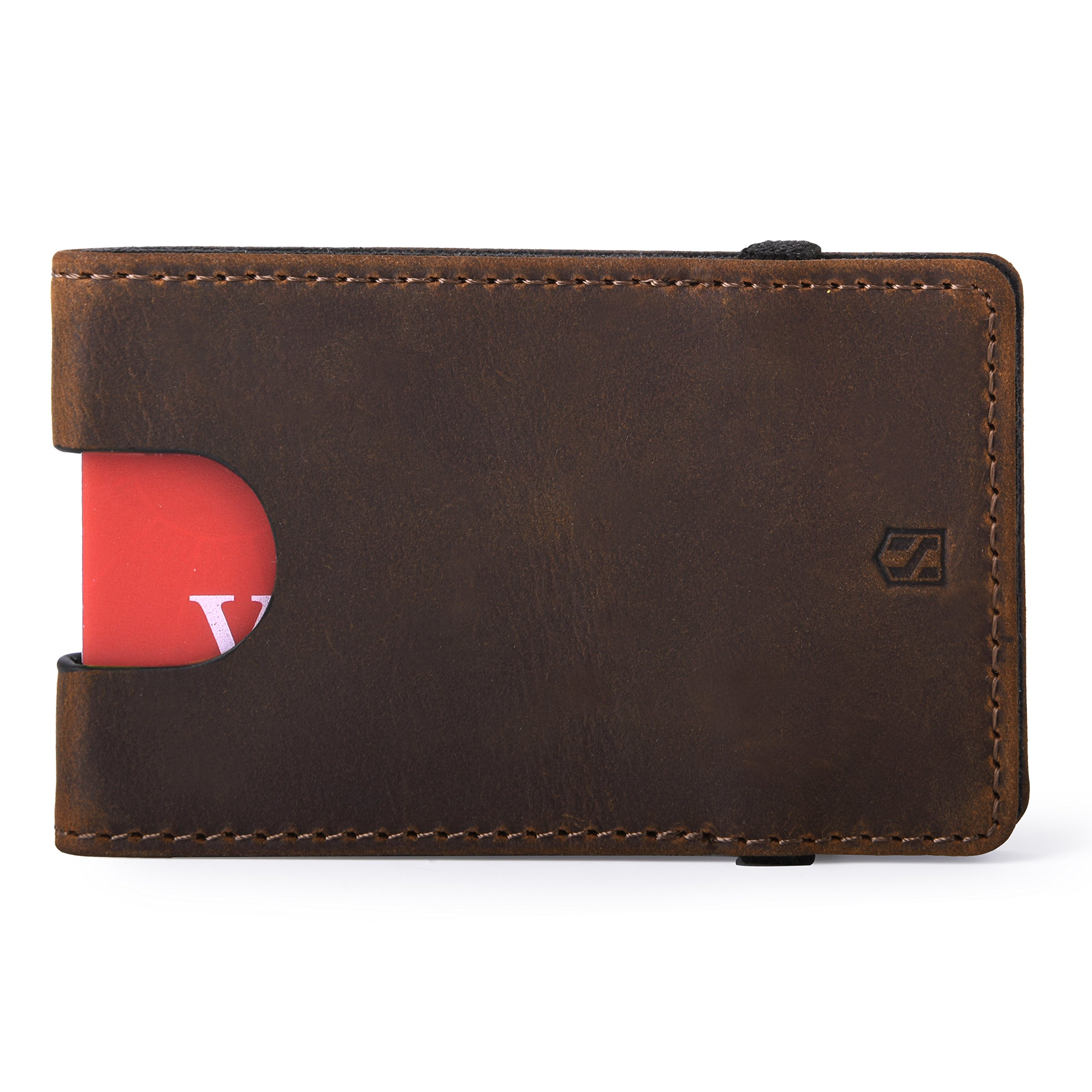Slim Wallets for Men - Mens Wallet Card Holder - Minimalist Front Pocket Wallet with Elastic (Dark Brown [CSC9-DBCH ])