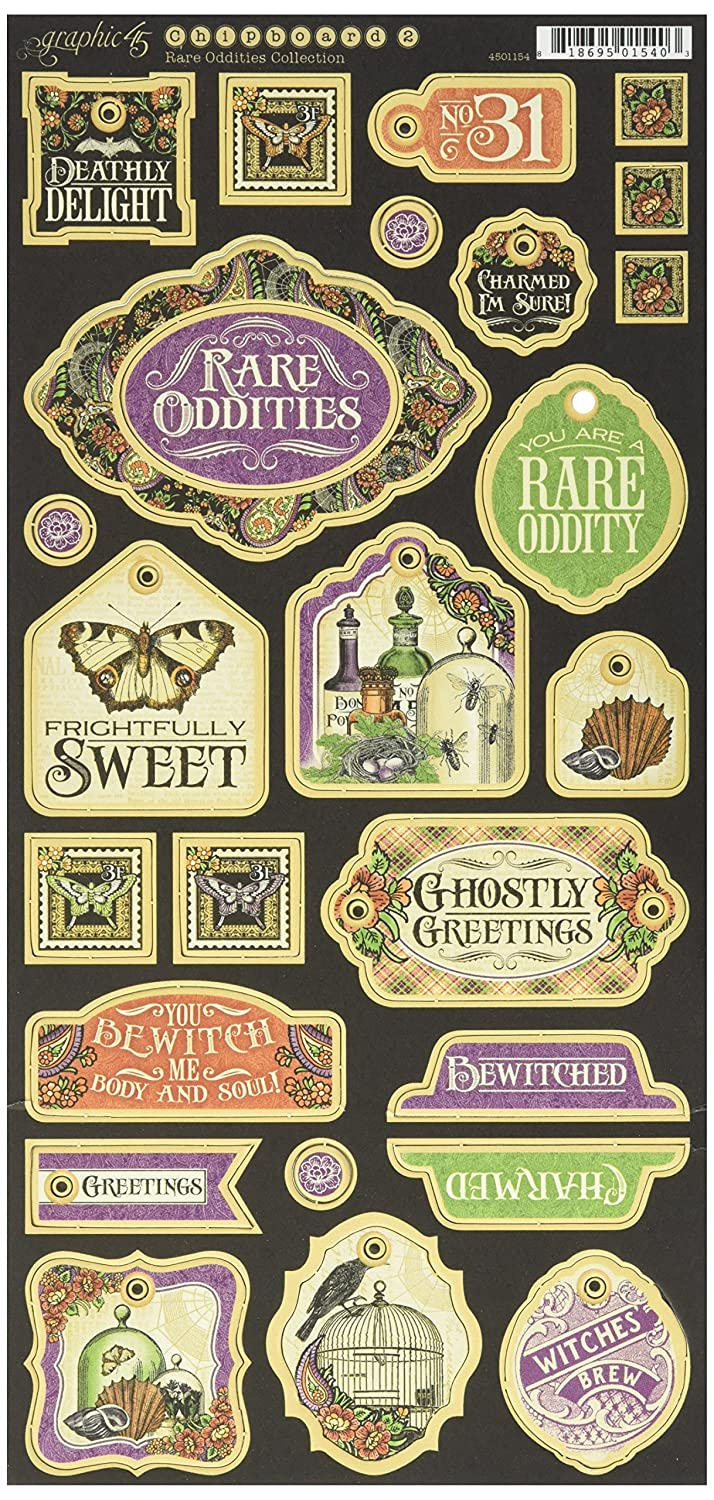 Graphic 45 Rare Oddities Collection Decorative Chipboard, 4501154