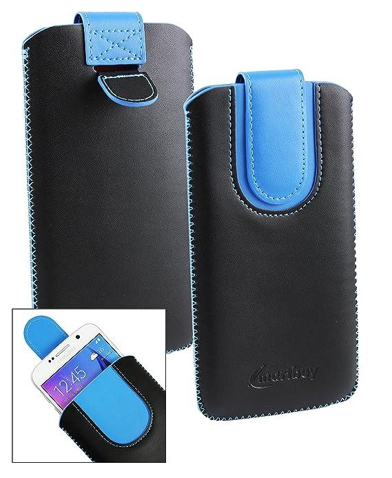 Emartbuy Negro/Azul PU Cuero Funda Carcasa Case Tipo Bolsa (Talla LM2) con Mecanismo de Pestaña para Estirar Apto para Elephone S7 Mini