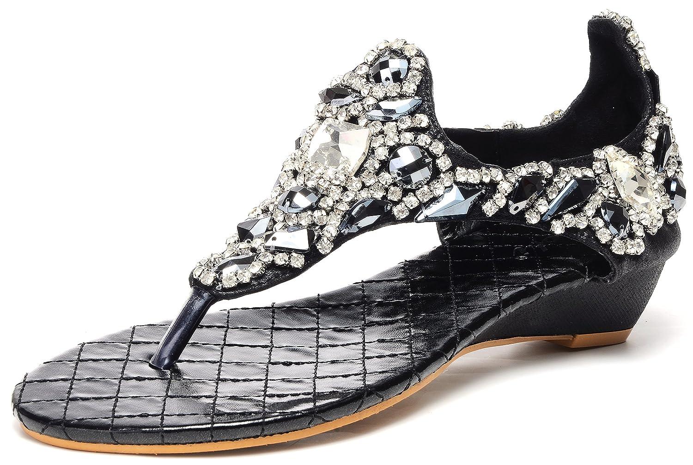 Odema Womens Wedge Sandals Slip On Ankle T-Strap Gladiator Beach Shoes Thong Dressy Sandals B06ZZMBZ2F 7.5 B(M) US|1-black