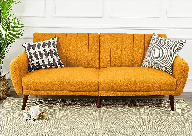 Dijon Sunrise Coast Torino Modern Linen-Upholstery Futon with Wooden Legs