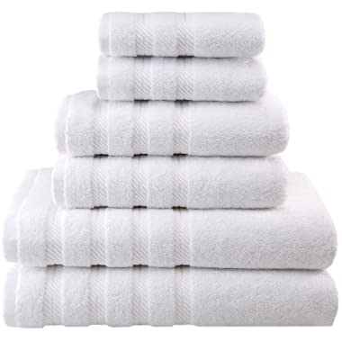 American Soft Linen Premium, Luxury Hotel & Spa Quality, 6 Piece Kitchen & Bathroom Turkish Towel Set, Cotton for Maximum Softness & Absorbency, [Worth $72.95] White