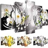 Quadro 200x100 cm - Tre colori da scegliere - 5 Parti - Grande Formato - Quadro su tela fliselina - Stampa in qualita fotografica - Fiori Orchidea Perle Diamant b-A-0257-b-p 200x100 cm B&D XXL