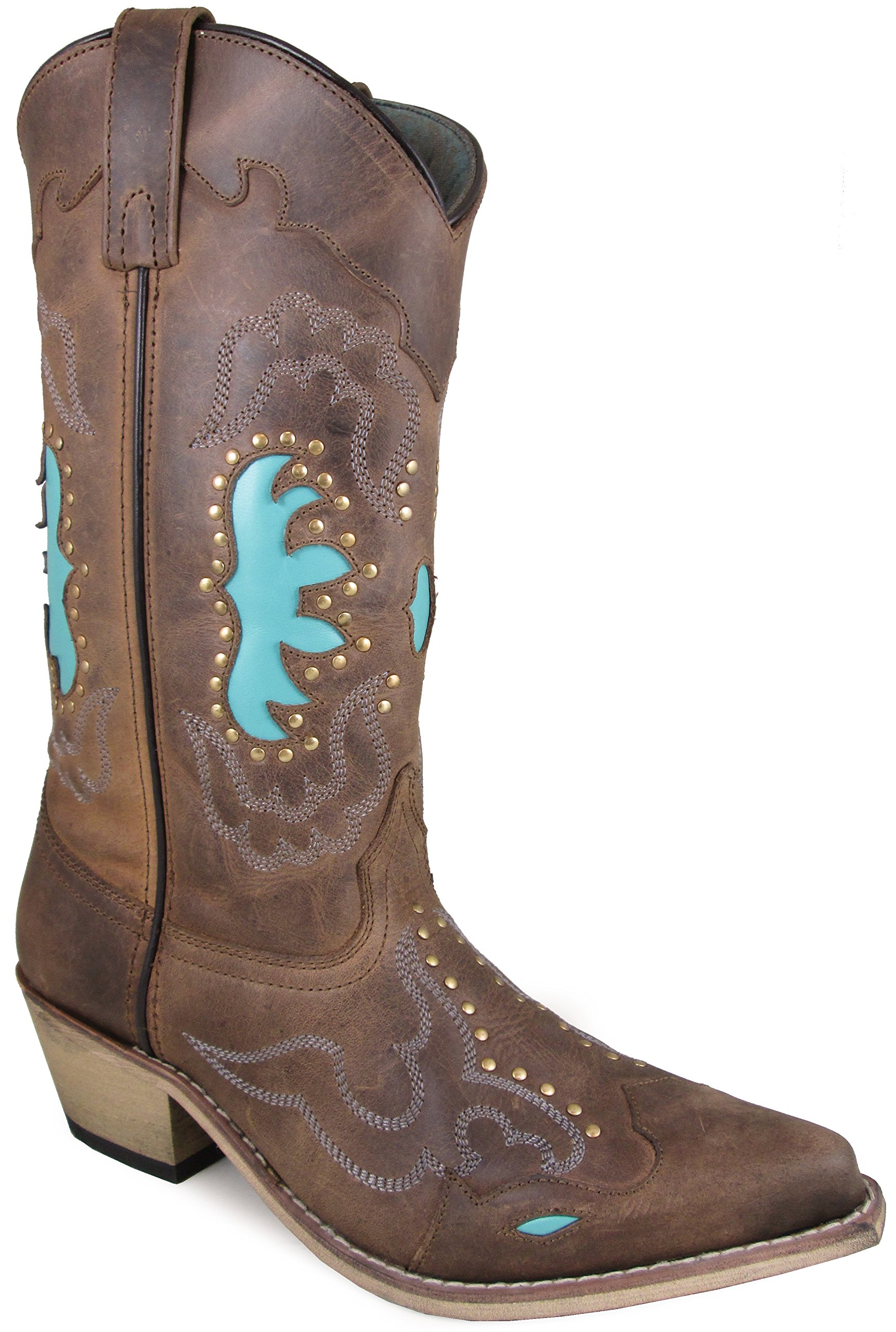 Smoky Mountain Women's Moon Bay Studded Design Snip Toe Brown Distress/Turquoise Boots 7M