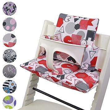 BambiniWelt - Cojín de asiento para trona Stokke Tripp Trapp, en 20 colores, asiento de 2 piezas, funda de repuesto ABC Rot/Weiß