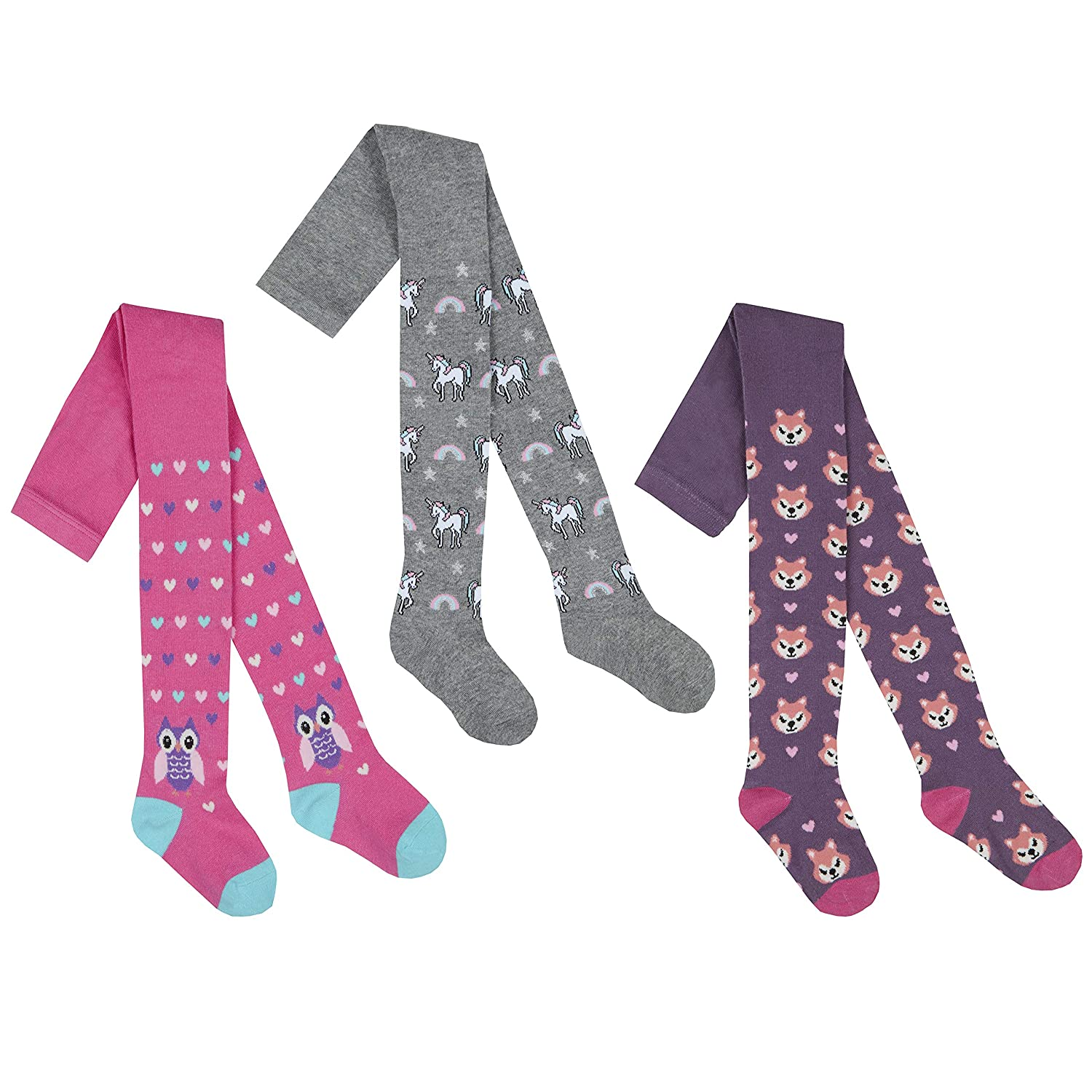 Girls 3 Pack of Novelty Print Tights