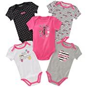 Juicy Couture Baby Girls 5 Packs Bodysuit, hot Pink/Black/Gray, 0-3 Months