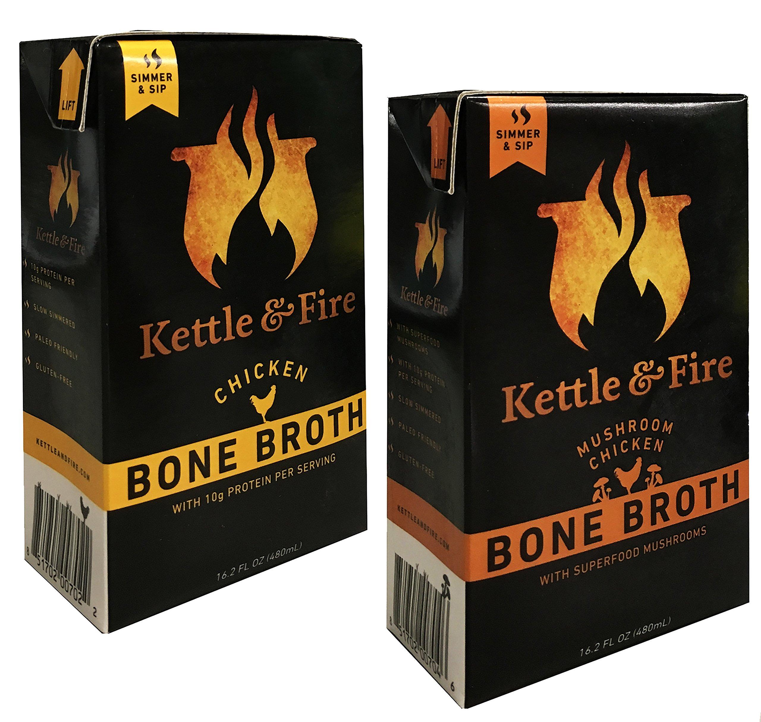 """Kettle & Fire Chicken Bone Broth and Mushroom Chicken Bone Broth Pack of 2 16.2 FL OZ"