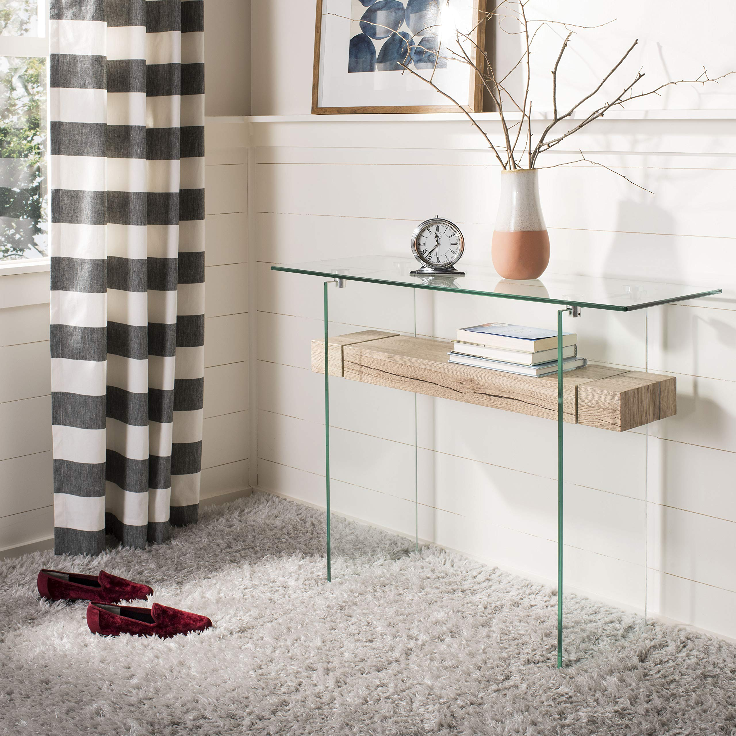 Safavieh CNS7001A Home Collection Kayley Clear and Natural Rectangular Modern Glass Console Table, by Safavieh