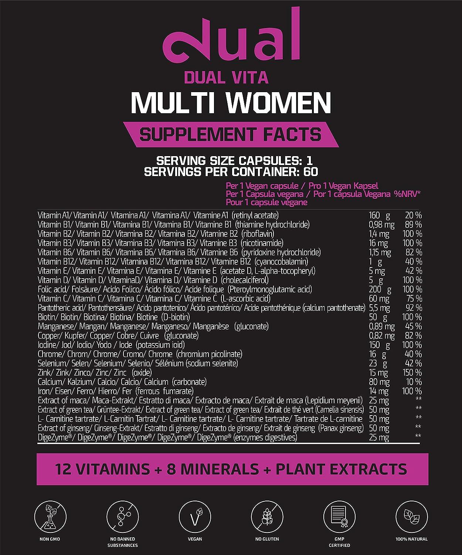 DUAL VITA Multi Women | Combinación de Vitaminas, Minerales y Plantas| Mujeres Activas | 60 Cápsulas Veganas | Suplemento Dietético 100% Natural | ...