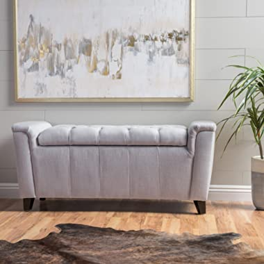 Christopher Knight Home 299249 Living Perris Light Grey Fabric Armed Storage Bench