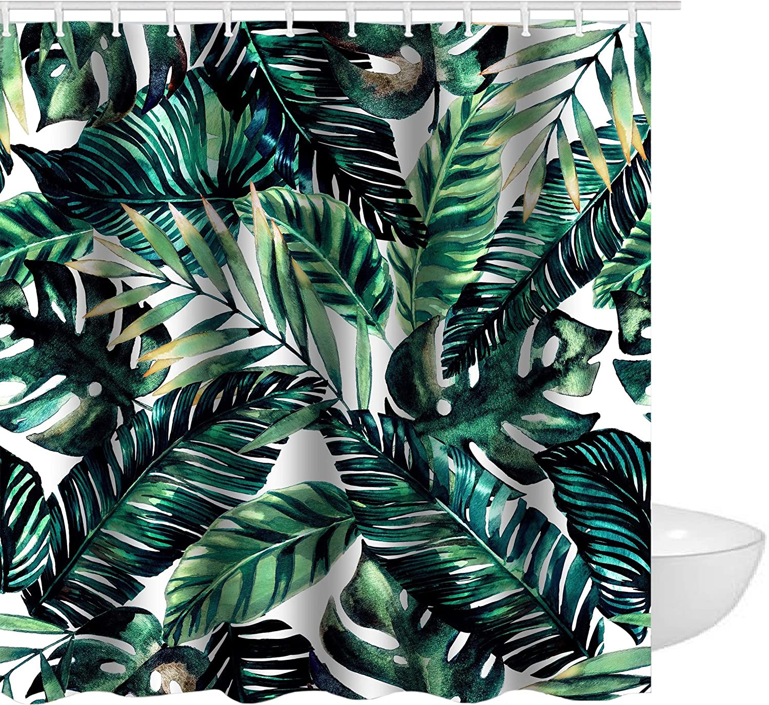 Get Orange Blue Tropical Palm Leaves Decor With Stylish Floral Graphic Waterproof Polyester Fabric Shower Curtain Bathroom Sets Decor with Hooks 72 X 72 Inches
