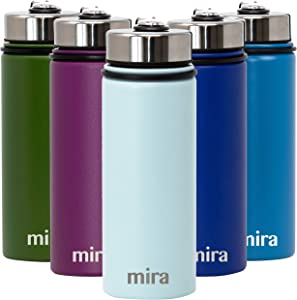 MIRA 18 Oz Stainless Steel Vacuum Insulated Wide Mouth Water Bottle | Thermos Keeps Cold for 24 hours, Hot for 12 hours | Double Walled Powder Coated Travel Flask | Pearl Blue