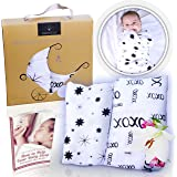 """Bamboo Muslin Swaddle Baby Blankets - Softest Combo of 70% Bamboo 30% Cotton - 2 Pack """"Stars & XOXO"""" In Gender Neutral Black & White"""