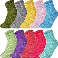 10 Pairs Fluffy Microfiber Colorful Socks, Coral Velvet Plush Slipper Socks Winter Soft Warm Socks for Women or Baby…