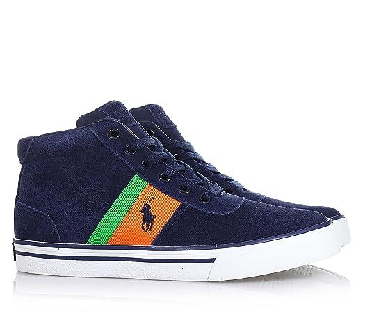 POLO RALPH LAUREN - Zapato azul marino con cordones, en gamuza ...