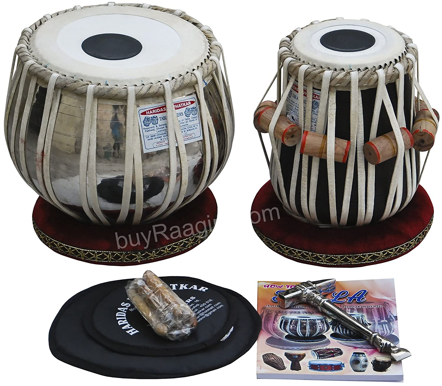 No. 1 Tabla Drum Set by Haridas Vhatkar, In USA, 3.5KG Chromed Copper Bayan, Finest Sheesham Dayan - Tuneable To C Sharp, Padded Bag, Book, Hammer, Cushions & Cover, Tabla Instrument India (PDI-ECH) buyRaagini.com