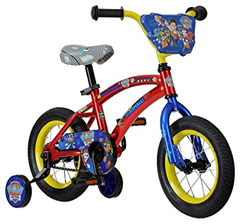 side facing red and blue nickelodeon paw patrol bike