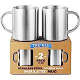 Coffee Mug 14oz Insulated Set of 2, Shatterproof, Healthy & Stainless Steel, Dishwashable