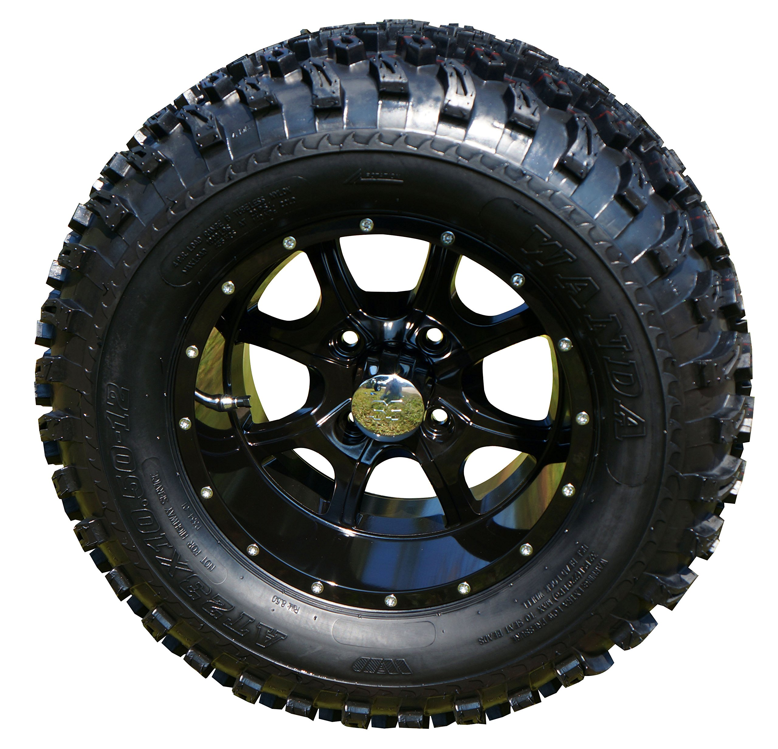 12'' Night Stalker Black Golf Cart Wheels with 23'' All Terrain Tires - Set of 4