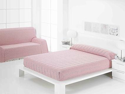 Frenessa Colcha Multiusos Foulard para Cama o Sofá, 230x260cm Color Rosa (Varios tamaños y Colores Disponibles)