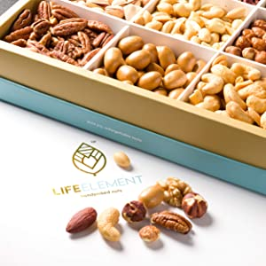 Assorted Snack Nuts Gift Basket – Snack Box of 9 Nuts and Legumes – Protein and Fiber-Rich Keto, Paleo, Vegetarian, and Vegan Food – Healthy Care Package & Snack Food Gifts by Life Element LLC