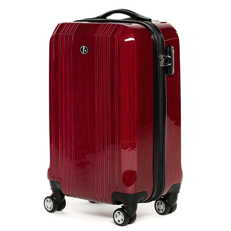 FERGÉ® Handgepäck-Koffer leicht CANNES Bordgepäck-Koffer Hartschale | Reisekoffer Kabinentrolley 4 Zwillingsrollen (360°) genehmigt Ryanair, Easyjet, Lufthansa etc | Koffer rot-metallic