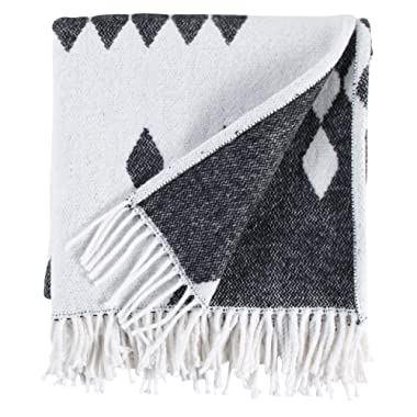 Rivet Colorful Geometric Diamond Jacquard Reversible Throw Blanket, 50 x60 , Black/White