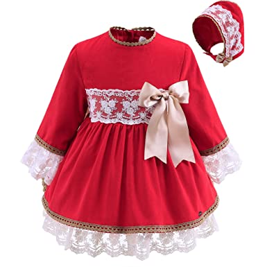 f968a4efff1a Lajinirr Toddler Girls Long Sleeves Red Handmade Christmas Dresses with  Hat, 24 Month: Amazon.co.uk: Clothing