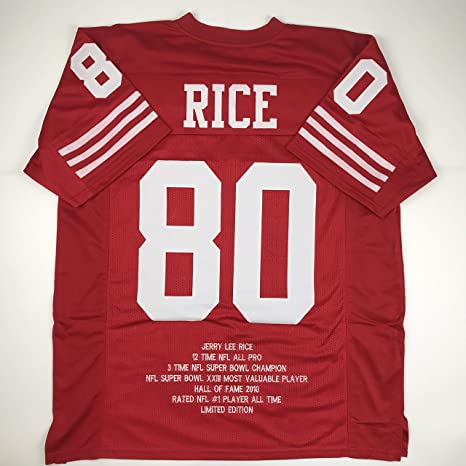 38055553a Unsigned Jerry Rice San Francisco Red Stat Custom Stitched Football Jersey  Size Men s XL New No