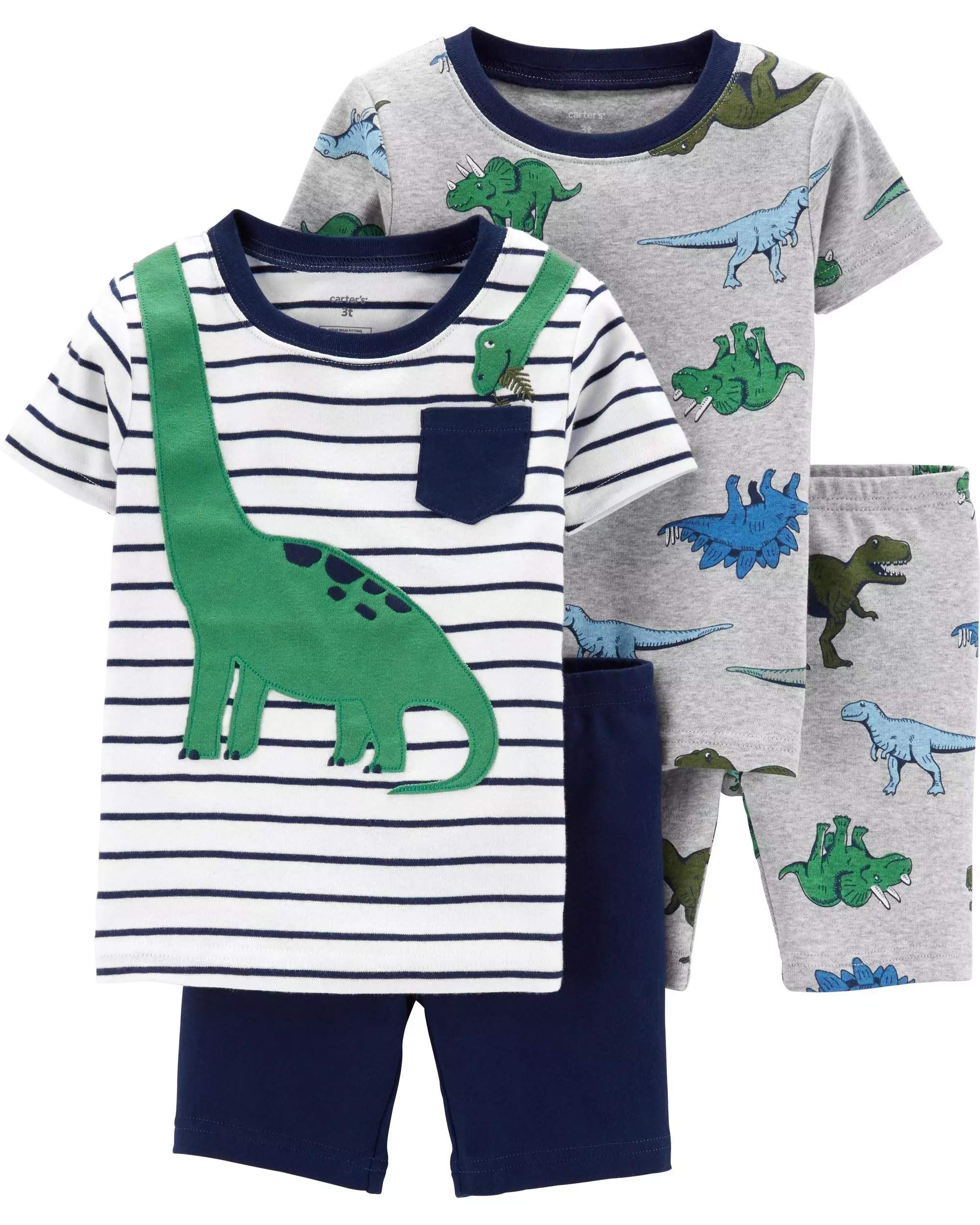 Carter's Toddler Boy's Dinosaur 4 Pc Set Nug Fit PJs Pajamas (3T)