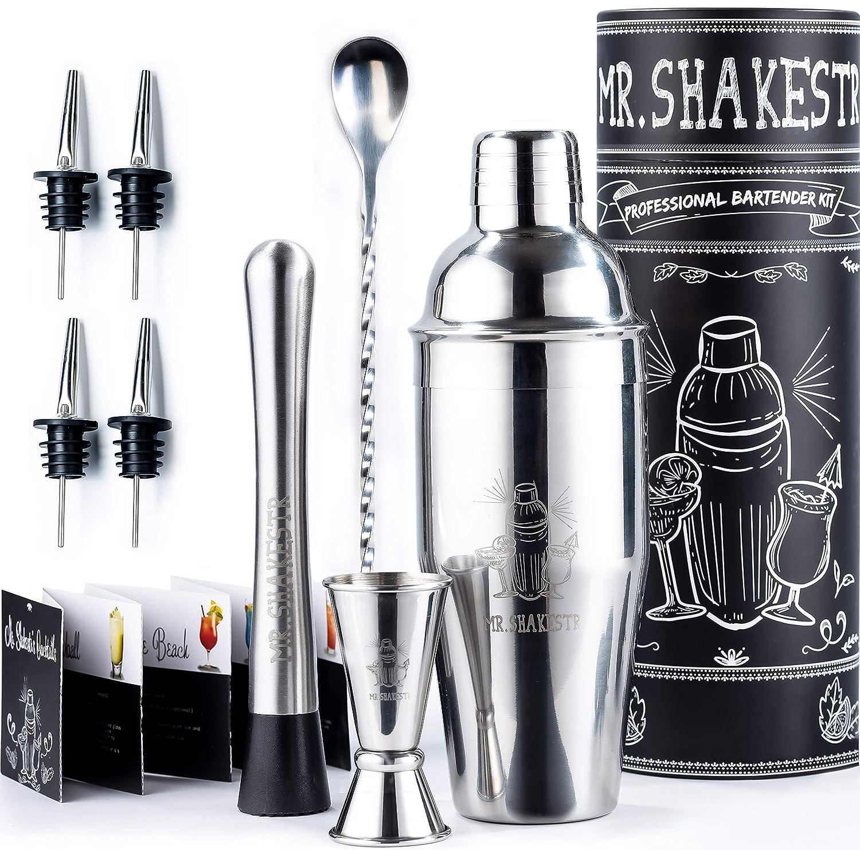 Mr.Shakestr Bartender Kit - Home Bartending Cocktail Shaker Set Bar Tools Kit - Best Bar Liquor Shaker Utensil Set - Mixology Bar Kit Set