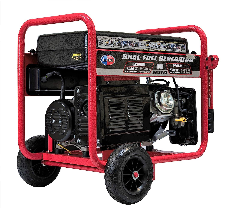 All Power America APGG10000GL 10000 Watt Dual Fuel Portable Generator with Electric Start 10000W Gas Propane, Black Red
