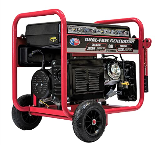 All Power America APGG10000GL 10000 Watt Dual Fuel Portable Generator with Electric Start 10000W Gas Propane, Black Red