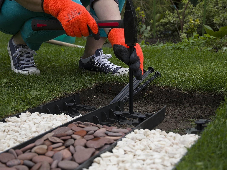 Flexible jardín césped frontera borde - 4 piezas + 12 pines ...