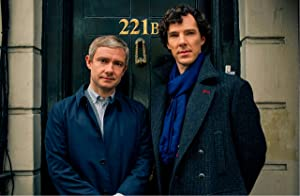 """Sherlock Holmes UK Imported 17"""" X 11"""" Sherlock and Watson in front of 221B Poster Print"""