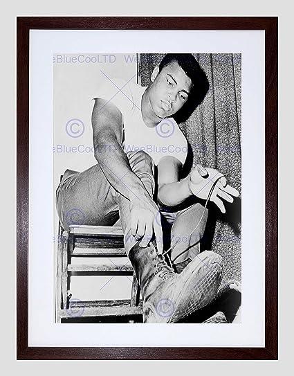 Vintage Photography Sport Portrait Boxer Muhammad Ali Lace Boots Framed Print