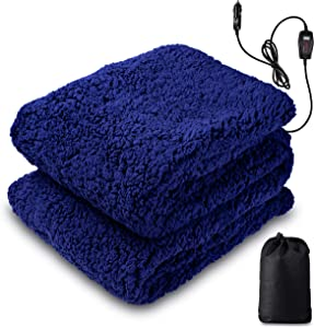 Zento Deals Sherpa Thermal Heated Travel Blanket, Soft Plush Warm Fuzzy with Temperature Control –Fire Proof, Overheat Protection 60