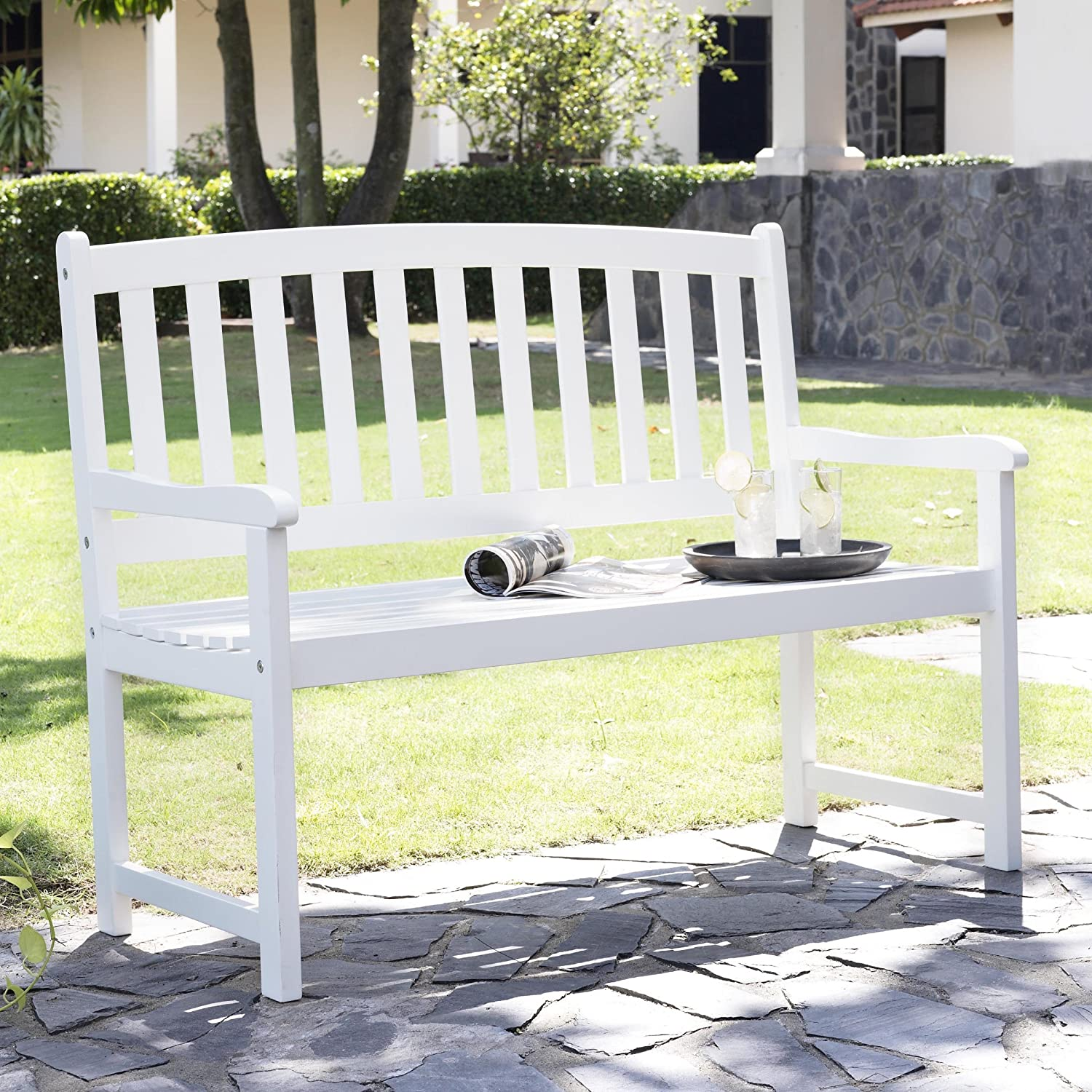 Curved Slat-Back Outdoor Wood Bench Coral Coast Pleasant Bay 5 ft