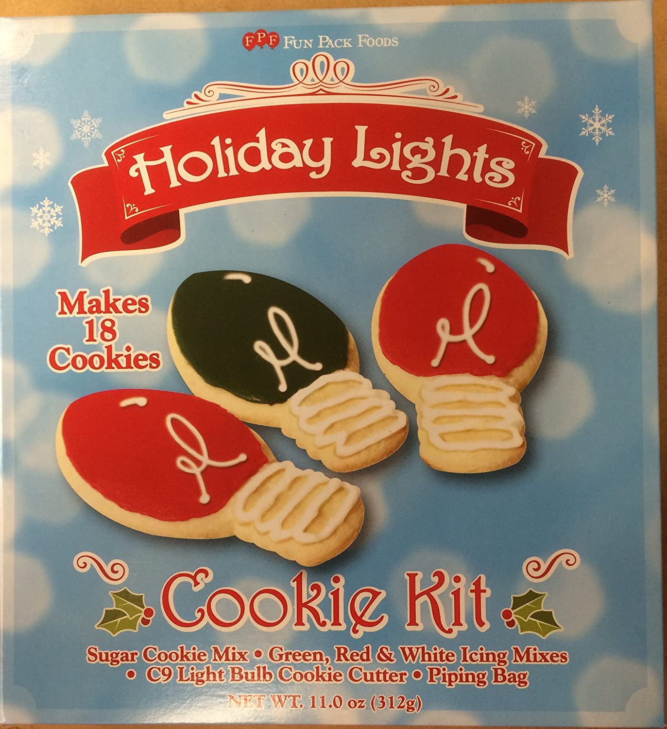 Amazon Com Holiday Lights Cookie Kit Sugar Cookie Mix Grocery