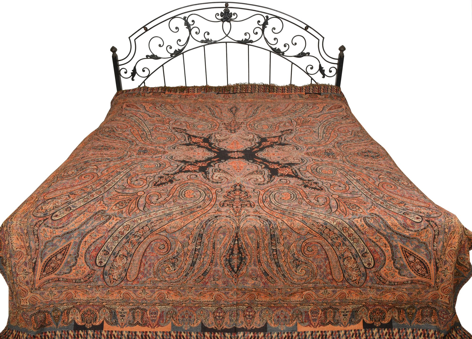 Black Reversible Jamawar Bedspread with Woven Paisleys - Pure Wool